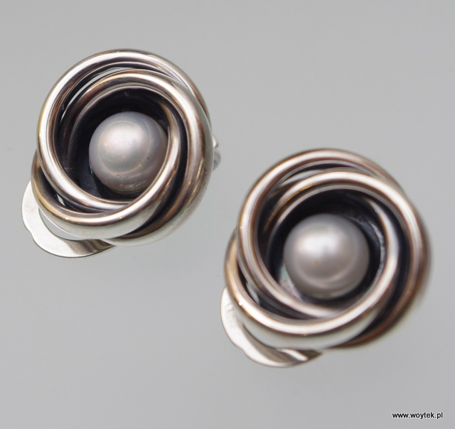 Srebrne klipsy Precle z perłą