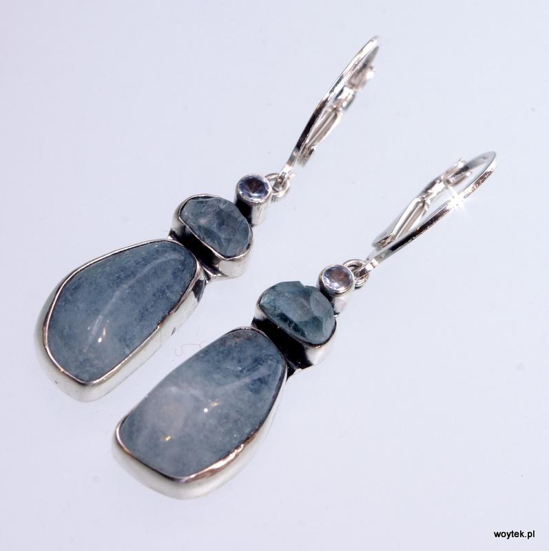 Srebrne kolczyki Bałwanki z kamieniami naturalnymi i cyrkonią