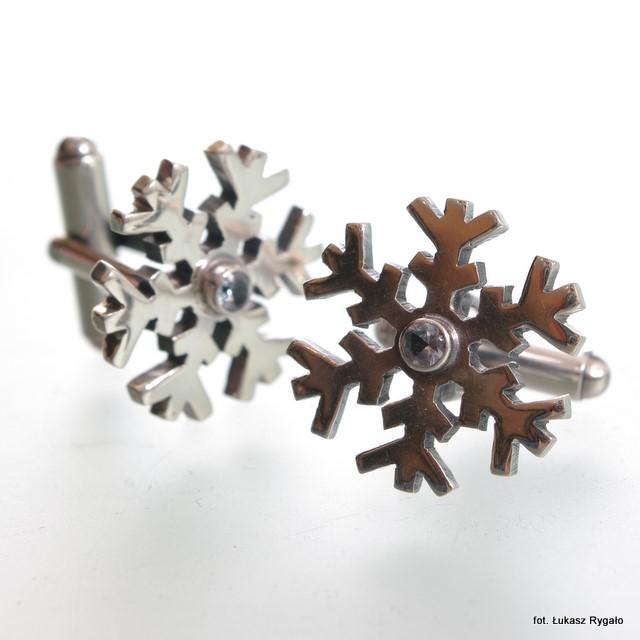 Srebrne spinki mankietowe Śnieżynki z cyrkoniami