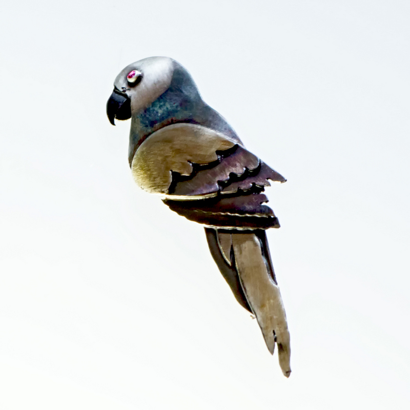 Broszka Papuga srebro oksydowane lub emaliowane