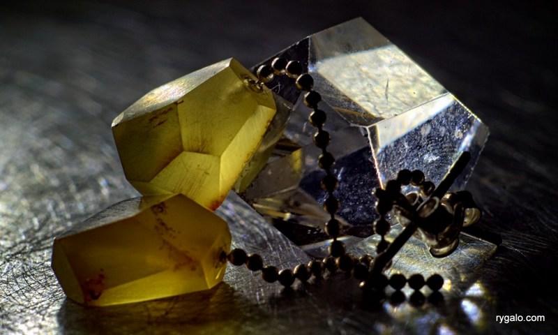 Srebrne kolczyki Kryształy z bursztynem