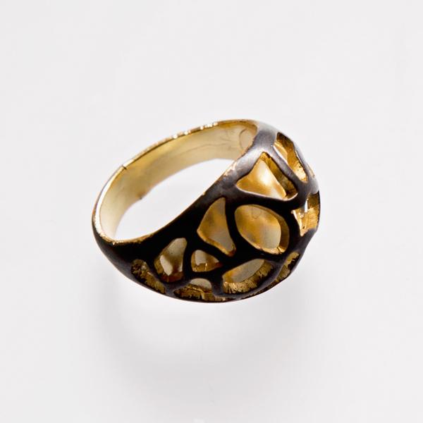 Srebrny pierścionek Sitko z elektroforezą