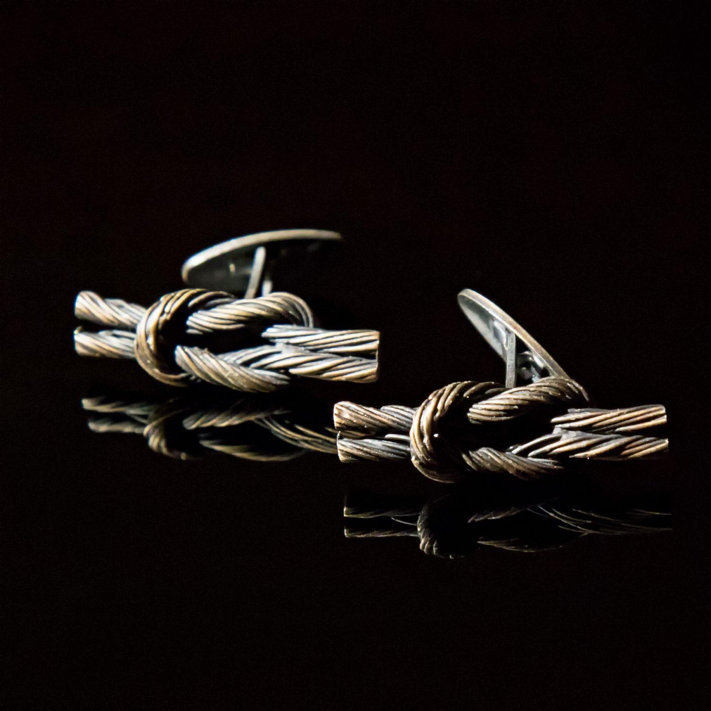 Srebrne spinki mankietowe Węzły