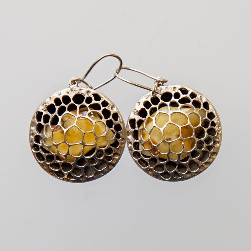 Srebrne kolczyki Trypofobia z bursztynem, perłami lub cyrkoniami
