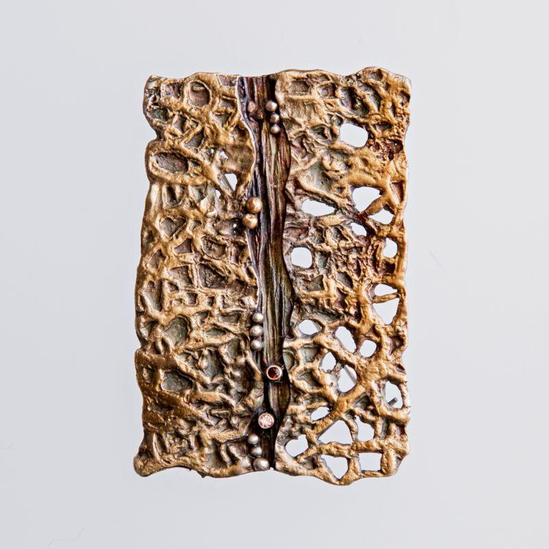 Srebrny broszko-wisior Faktura z cyrkoniami