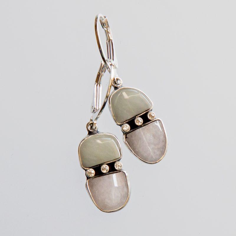 Srebrne kolczyki Potrójne z berylami i cyrkoniami