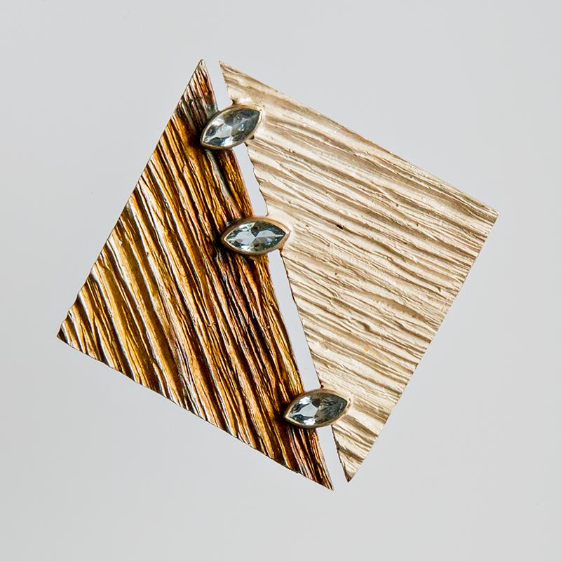 Srebrny broszko-wisior Bruzdy z cyrkoniami