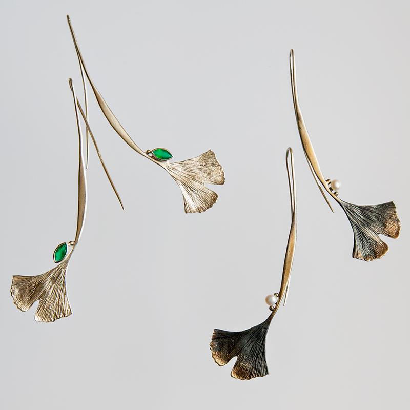 Srebrne długie kolczyki Ginko z cyrkonią lub perłą