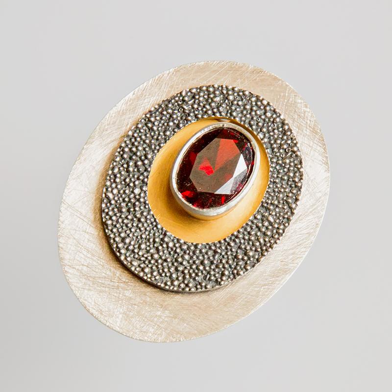 Srebrny broszko-wisior Granulacja z cyrkonią i pozłoceniem
