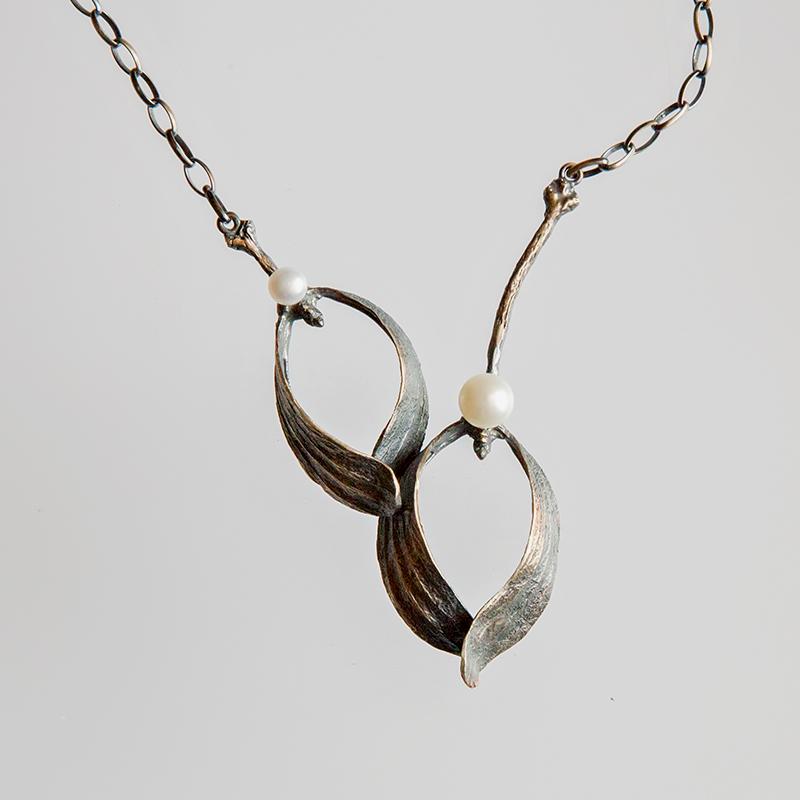 Srebrny naszyjnik Jemioła z perłą
