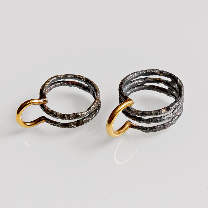 Srebrny pierścionek Rdza z pozłoceniem